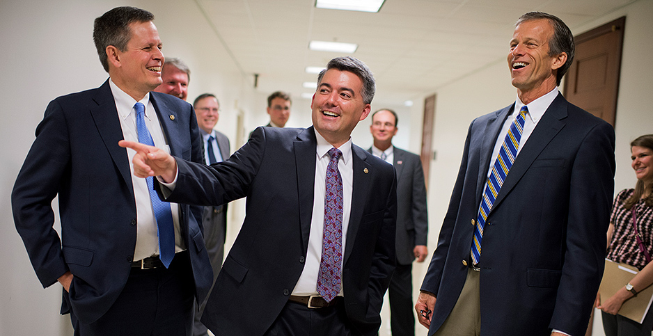 Sens. Steve Daines (R-Mont.), Cory Gardner (R-Colo.) and John Thune (R-S.D.). Photo credit: Tom Williams/CQ Roll Call/Newscom