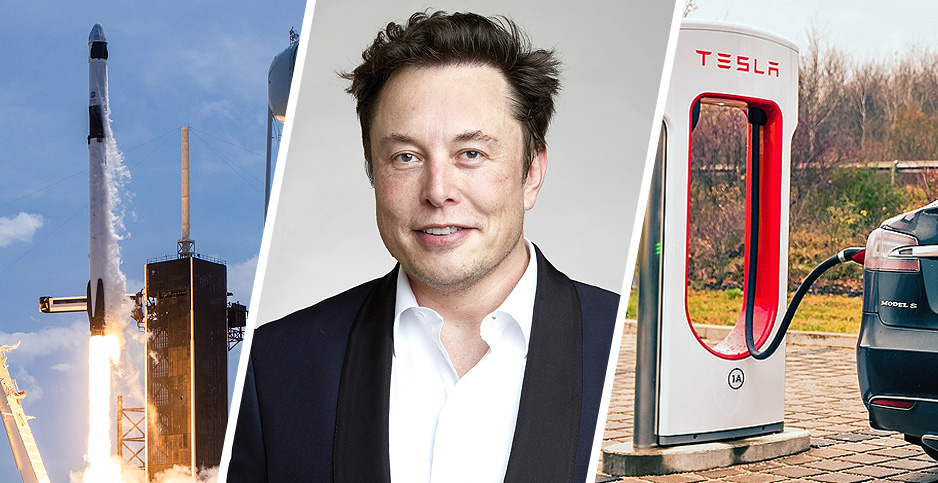 SpaceX launch, Elon Musk, Tesla charging station. Photo credits: @SpaceX/Twitter; Duncan.Hull/Wikipedia(Musk); Jakob Härter/Flickr(Tesla charging)