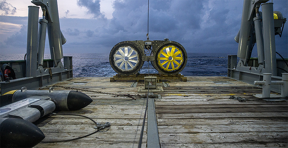 Turbines for generating electricity from ocean currents. Photo credit: OceanBased Perpetual Energy LLC