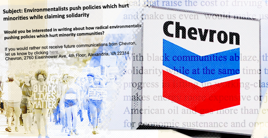 Chevron emails illustration. Credits: Claudine Hellmuth/E&E News(illustration); ArtBrom/Flickr(Chevron sign), Francis Chung/E&E News(protest photo)