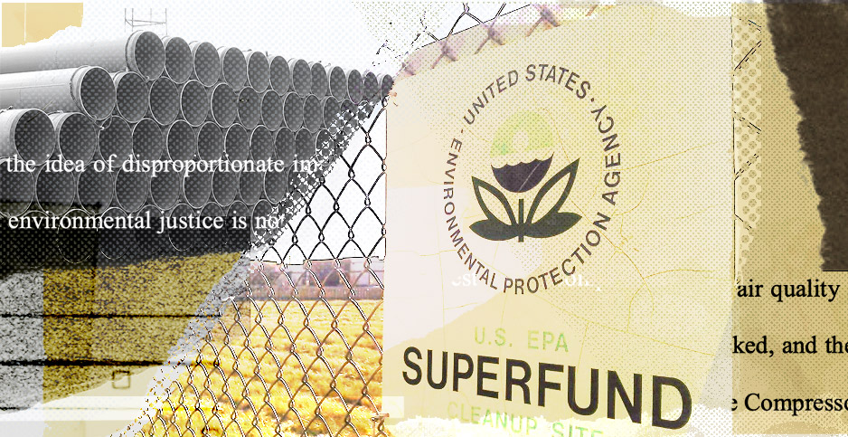 EPA Superfund collage. Credits: Claudine Hellmuth/E&E News(illustration); Constitution Pipeline Co.(pipes); markzvo/wikipedia(Superfund sign); US Court of Appeals for the 4th Circuit (court documents)