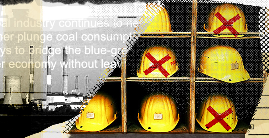 Collage with hard hats and coal plant. Credits: Claudine Hellmuth/E&E News(illustration);Cyndy Sims Parr/Wikipedia(Chalk Point Generating Station); ©b3d_/Flickr(hard hats)