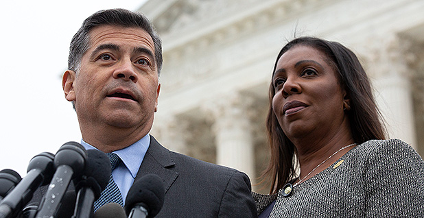 California Attorney General Xavier Becerra (D) and New York Attorney General Letitia James (D). Photo credit: Stefani Reynolds - CNP/Sipa USA/Newscom
