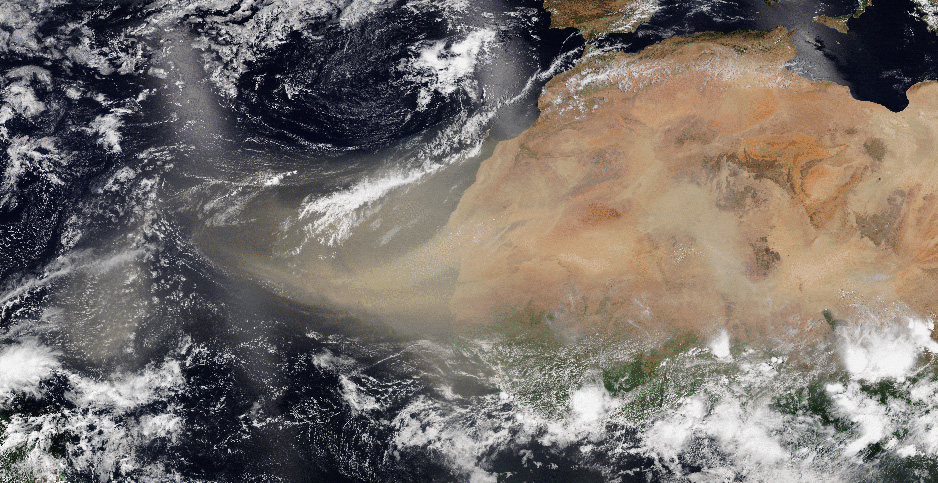 A Saharan dust plume seen last week by the NOAA-20 satellite. Photo credit: NOAA