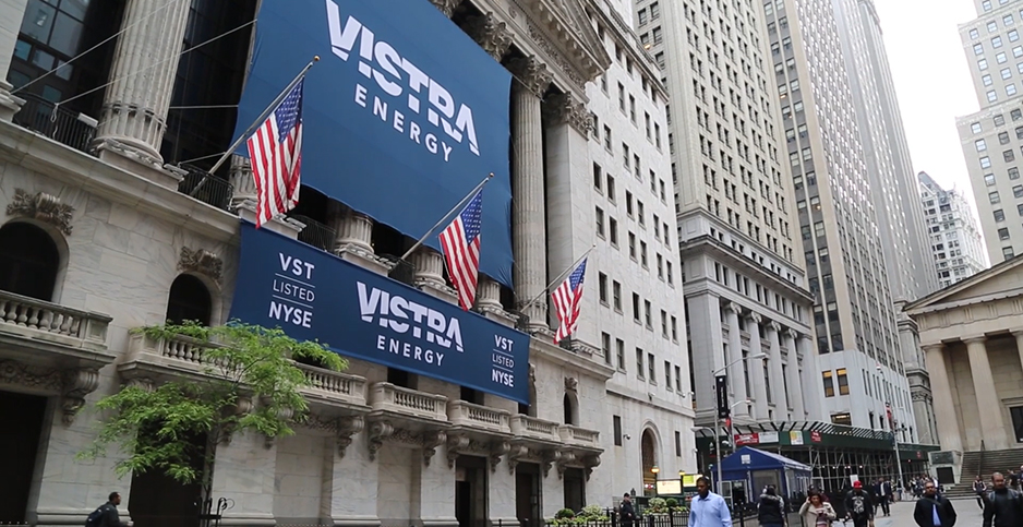 Vistra Energy Corp. logo at NYSE. Photo credit: Katie Vance/Vistra Energy Corp./Vimeo