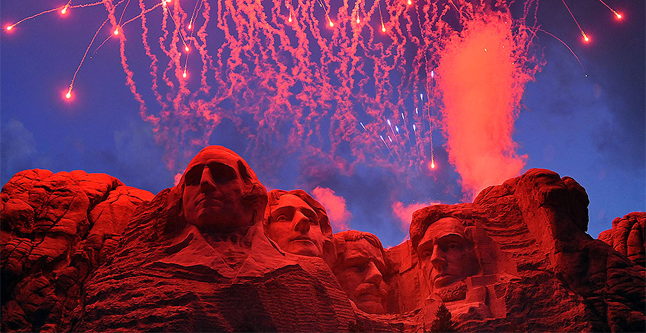 The 2008 fireworks display at Mount Rushmore National Memorial. Photo credit: Senior Airman Marc I. Lane/U.S. Air Force