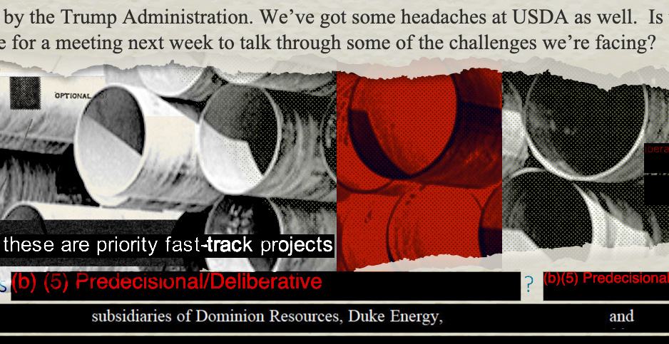 Pipeline photo collage. Credits: Claudine Hellmuth/E&E News(illustration); FOIA requests from USDA and Southern Environmental Law Center(documents); Library of Congress(pipes)
