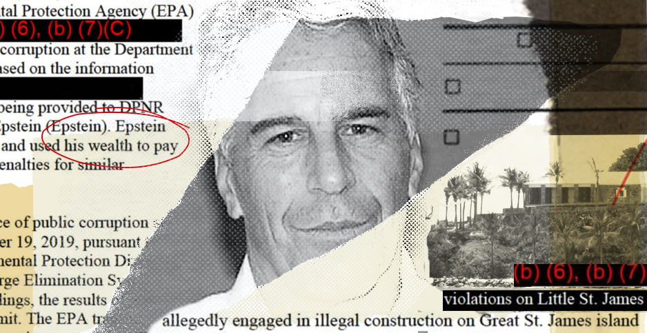 Jeffrey Epstein photo collage. Photo credit: Claudine Hellmuth/E&E News(illustration); Palm Beach County Sheriff's Department(Epstein); Navin75 /Wikipedia(St James Island); FOIA(EPA documents)
