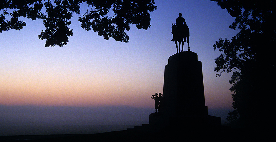Silhouette of Robert E. Lee Statue at Gettysburg at sunset. Photo credit: George Ostertag/agefotostock/Newscom
