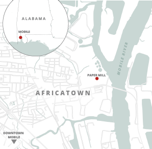 Map of Africatown Alabama. Credits: Claudine Hellmuth/E&E News; Snazzy maps/© 2020 Google