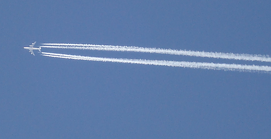An airplan in the sky. Photo credit: lilivanili/Flickr