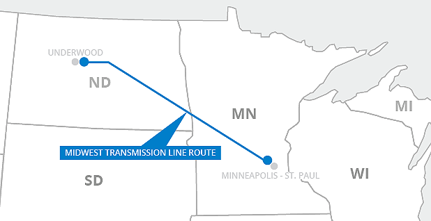 Midwest transmission line route. Map credit: Claudine Hellmuth/E&E News