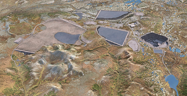 A digital simulation of the proposed Pebble Mine. Image credit: Army Corps of Engineers
