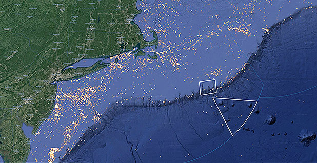 Northeast Canyons and Seamounts Marine National Monument. Map credit: Global Fishing Watch