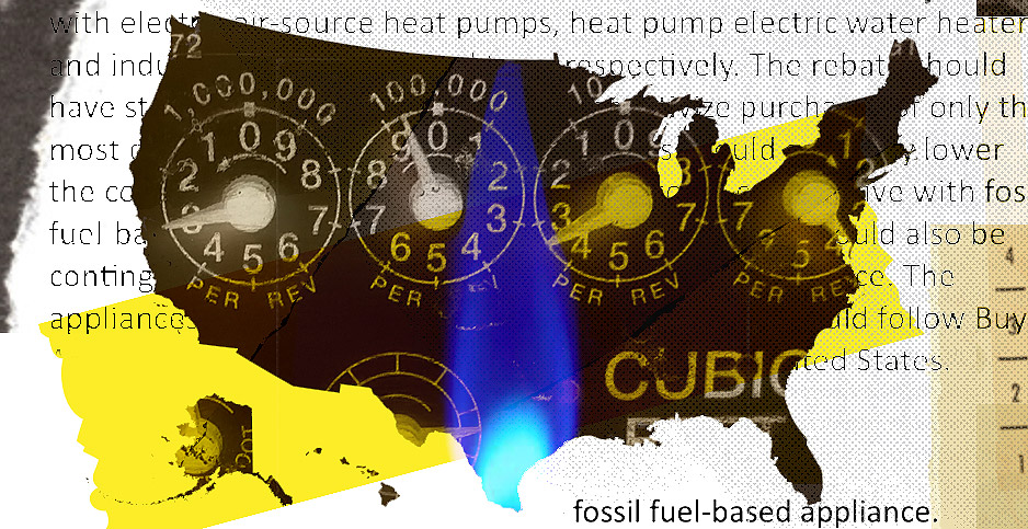 Natural gas collage. Credits: Claudine Hellmuth/E&E News(illustration); Biden-Sanders task force report(document text); Tim36272/Wikipedia(gas meter dials); Pikrepo(gas flame)