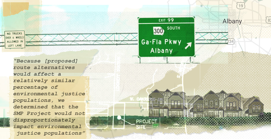 Albany Georgia Sabal Trail Transmission LLC pipeline system collage. Credits: Claudine Hellmuth/E&E News(illustration);David Jay Fullmer/Wikipedia(houses); InterstateGuide(roadsign);Snazzymaps(map)