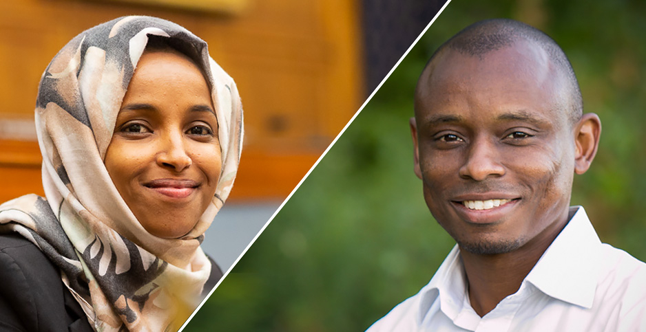 Rep. Ilhan Omar (D-Minn.) and her Democratic challenger, Anton Melton-Meaux. Photo credits: Francis Chung/E&E News(Omar);Antone for Congress