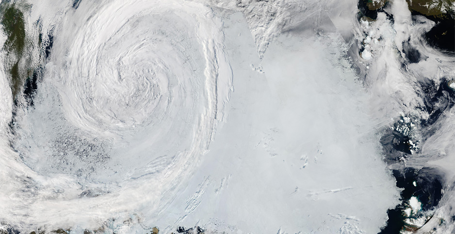 Arctic cyclone. Photo credit: NASA/Zack Labe/Twitter
