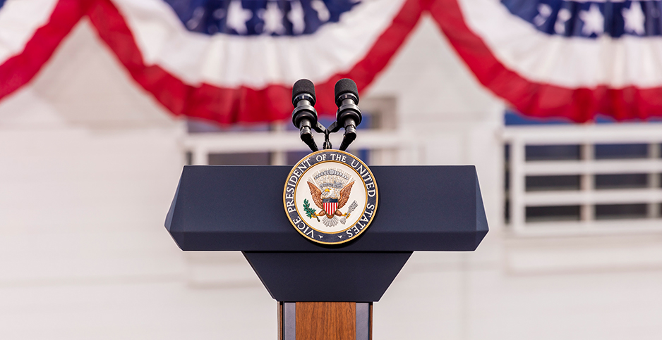 Empty lectern with vice presidential seal. Photo credit: Joseph Sohm/Visions of America/Newscom