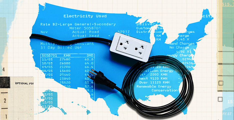 USA map with electrical plug. Photo credit: Claudine Hellmuth/E&E News(illustration);bowonpat /Freepik(outlet and plug);Calsidyrose/Flickr(grid paper)
