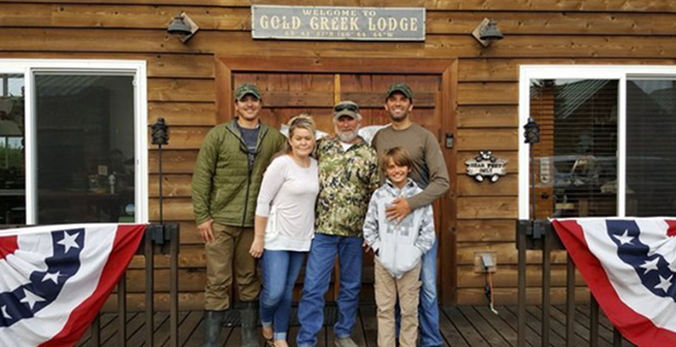 Donald Trump Jr. (back right) and Donald Trump III (front right) at Alaska's Gold Creek Lodge in Bristol Bay. Photo credit: Alaska's Gold Creek Lodge