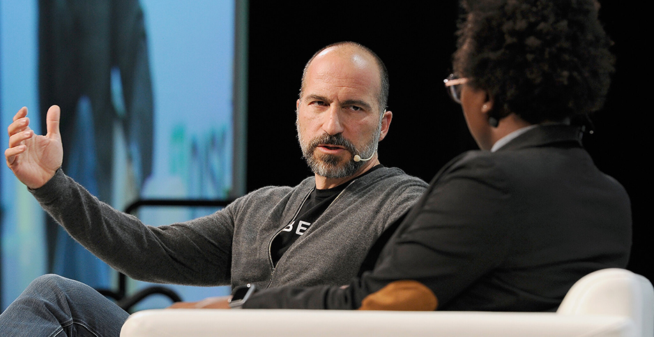 Uber CEO Dara Khosrowshahi (left) speaks at TechCrunch Disrupt SF 2018. Photo credit: Steve Jennings/Getty Images for TechCrunch/Flickr