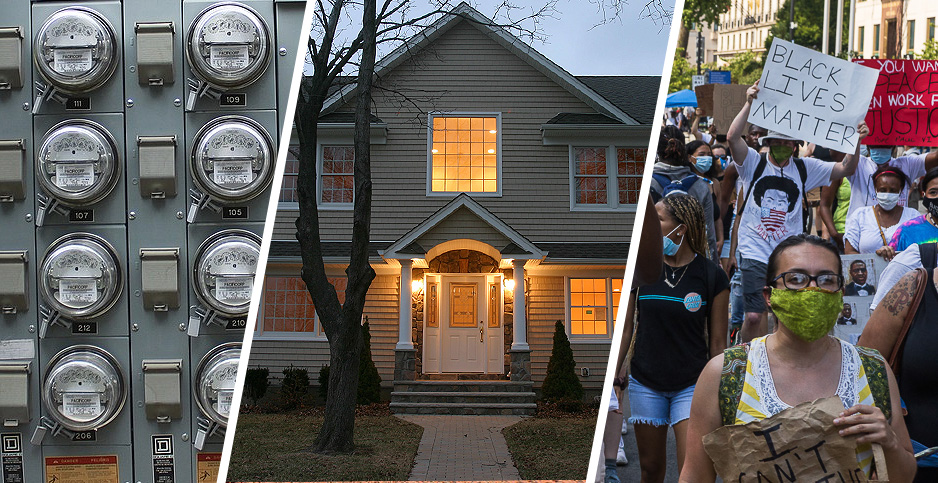 Electric meter, house, BLM protesters. Photo credits: pat_loonytoon/pixabay(meters); Steven Tom/Flickr(house); Francis Chung/E&E News(protesters)