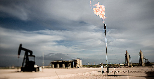 New Mexico pumpjack flaring gas. Photo credit: blake.thornberry/Flickr