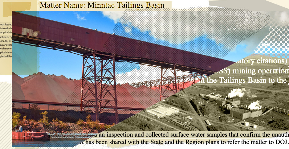 Minntac mine collage. Credits: Claudine Hellmuth/E&E News(illustration); Energy Department/NREL(black and white photo); Andrew VonBank/Minnesota House of Representatives(color photo); EPA FOIA (document)
