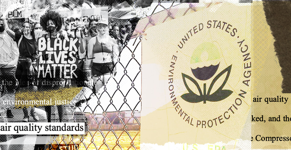 EPA environmental justice collage. Credits: Claudine Hellmuth/E&E News(illustration); markzvo/wikipedia(EPA sign); Francis Chung/E&E News (protest photo)