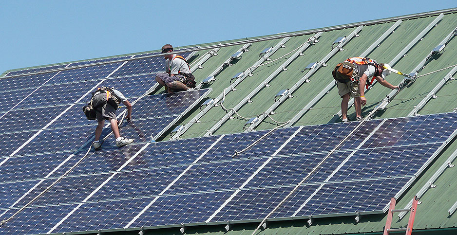 Solar panels being installed in Littlestown, Pa. Photo credit: Department of Agriculture/Flickr