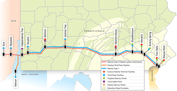 Mariner East 2 pipeline map. Photo credit: Energy Transfer Partners LP