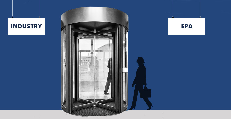 EPA revolving door illustration. Credits: Claudine Hellmuth/E&E News(illustration); Freepik(woman); ibrandify/Freepik(signs); Magdalena Roeseler/Pxhere(revolving door)