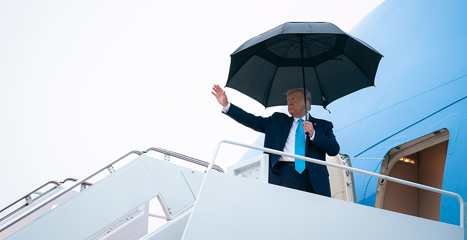 President Donald Trump boards Air Force One Sept. 26, 2020. Photo credit: Tia Dufour/White House/Flickr