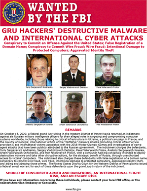 """""""Wanted"""" poster with alleged Russian hackers. Photo credit: FBI"""