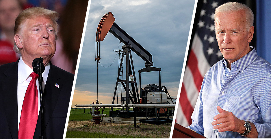 Trump, pumpjack, Biden. Photo credits:  blake.thornberry/Flickr (oil pumpjack); Gage Skidmore/Flickr (Biden & Trump)