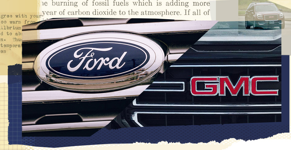 Ford and GM collage. Photo credits: Claudine Hellmuth/E&E News(illustration); ArtisticOperations/Pixabay(SUV);tony webster/Flickr(Ford); truck hardware/Flickr(GMC); Gilbert Plass/The Carbon Dioxide Theory of Climatic Change(text)