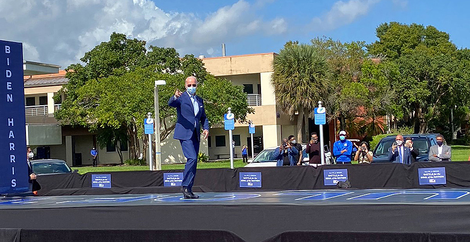 Former Vice President Joe Biden takes the stage at a campaign rally in Broward County, Fla. Photo credit: @BidenForFL/Twitter