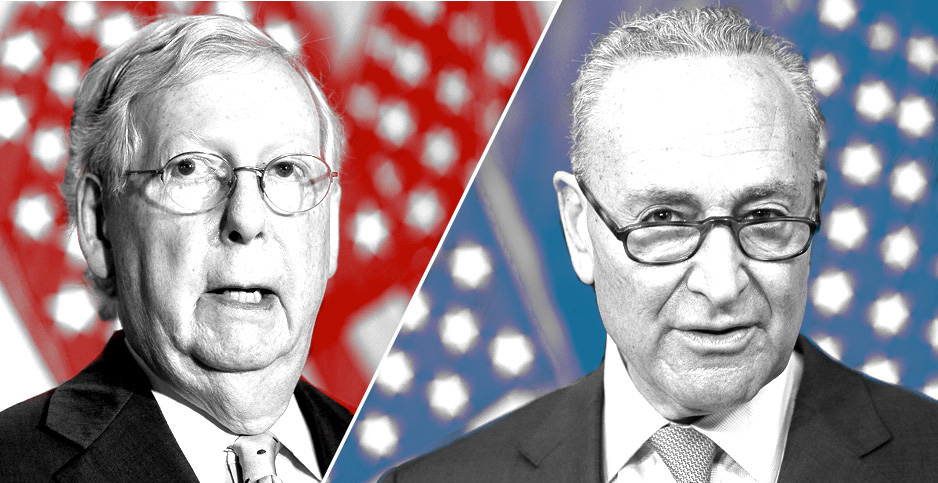 Mitch McConnell and Chuck Schumer. Photo credit: Claudine Hellmuth/E&E News(graphic); Francis Chung/E&E News(photos)