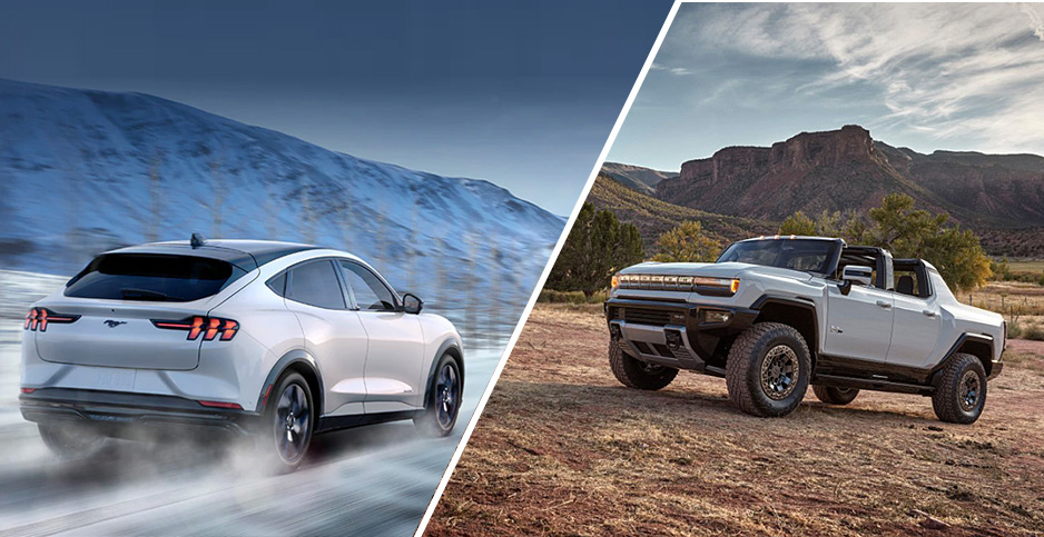 GMC Hummer and Ford Mustang Mach-E electric vehicles. Photo credit: GMC (Hummer); Ford (Mustang)