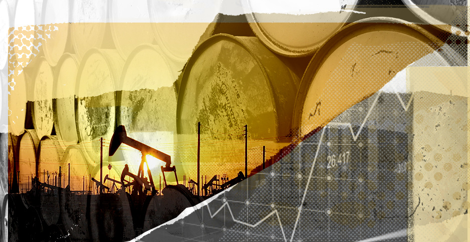 Oil stocks collage. Photo credit: Claudine Hellmuth/E&E News (illustration); Arne Hückelheim/Wikipedia (pump jacks); Freepick (stock ticker); jannoon028/Freepik (oil barrels)