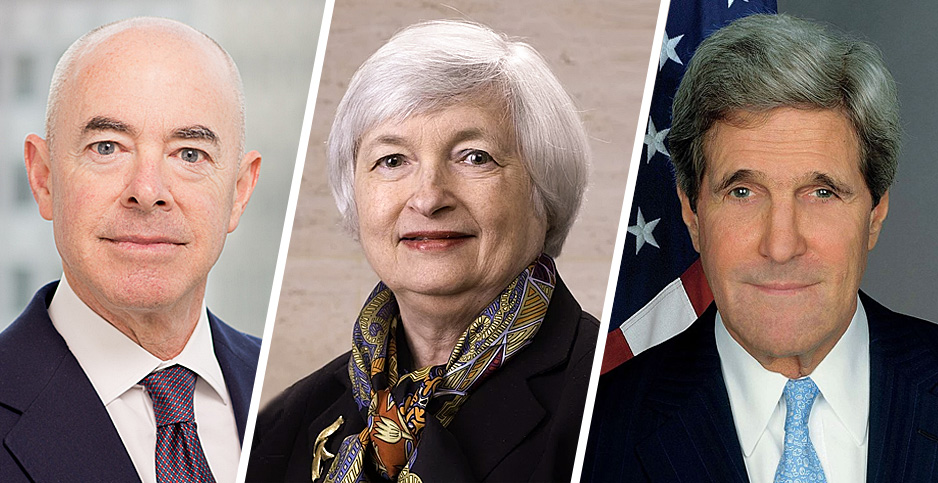Alejandro Mayorkas, Janet Yellen and John Kerry. Photo credits: Wilmer Cutler Pickering Hale and Dorr LLP(Mayorkas); US Federal Reserve(Yellen); US State Department(Kerry)