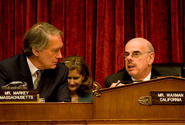 Ed Markey and Henry Waxman. Photo credit: Ryan Kelly/<em>Congresional Quarterly</em>/Newscom