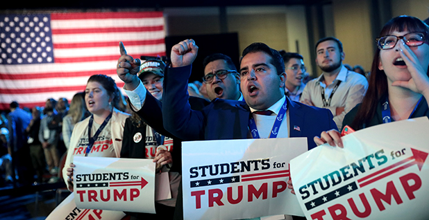 Students for Trump cheer during a conference. Photo credit: Gage Skidmore/Flickr