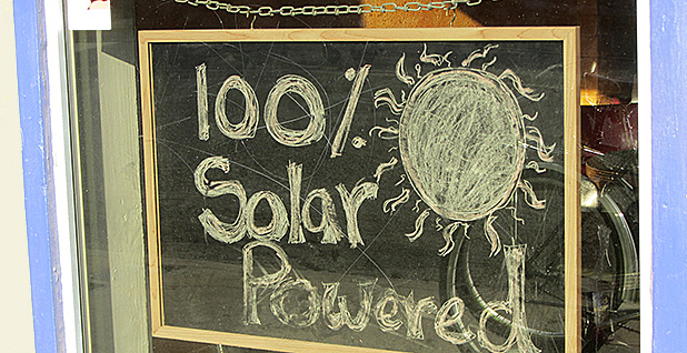 A pizzeria in Tucson, Ariz., touts its climate-conscious approach to energy. Photo credit: Ken Bosma/Flickr