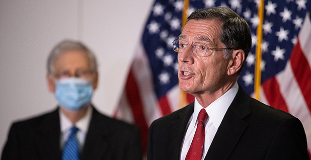 Sens. John Barrasso (R-Wyo.) and Mitch McConnell (R-Ky.). Photo credit: Francis Chung/E&E News