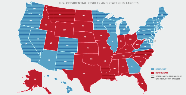 States with Greenhouse Gas Reduction Targets. Credits: Claudine Hellmuth/E&E News(graphic); Center for Climate and Energy Solutions(data)