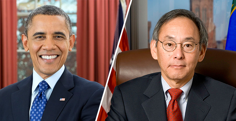 Former President Obama and Former Energy Secretary Steven Chu. Photo credits: Obama White House and DOE