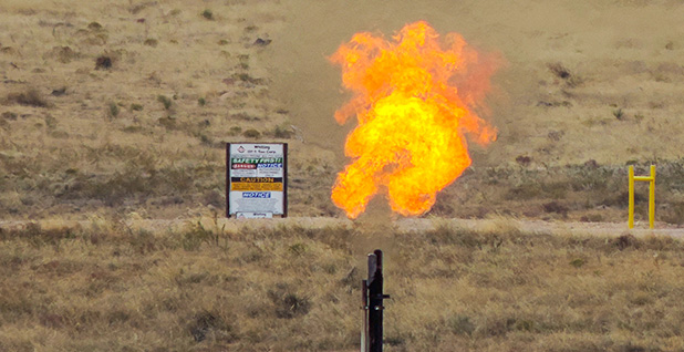 Methane flame in Colorado. Photo credit: WildEarth Guardians/Flickr