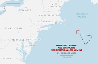 Northeast Canyons and Seamounts Marine National Monument map. Credits: Claudine Hellmuth/E&E News(graphic); NOAA(data); Snazzy maps/© 2020 Google(basemap)